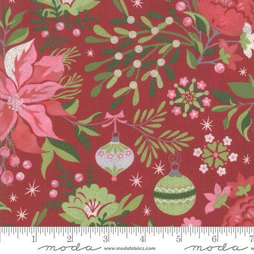 Naughty or Nice 30630 12 Red Floral Moda Basic Grey