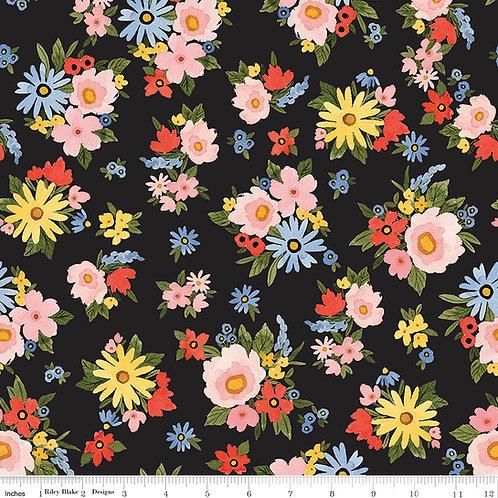 Beautiful Day C10690B Black Floral Riley Blake