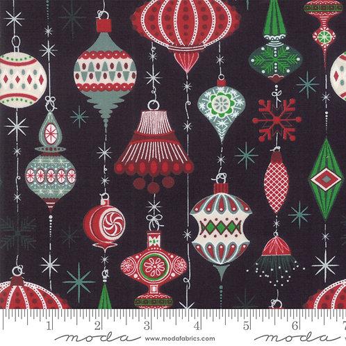 Kringle and Claus 30591 12 Black Ornaments Moda Basic Grey
