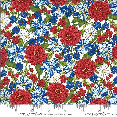 American the Beautiful 19982 12 White Floral Moda Deb Strain