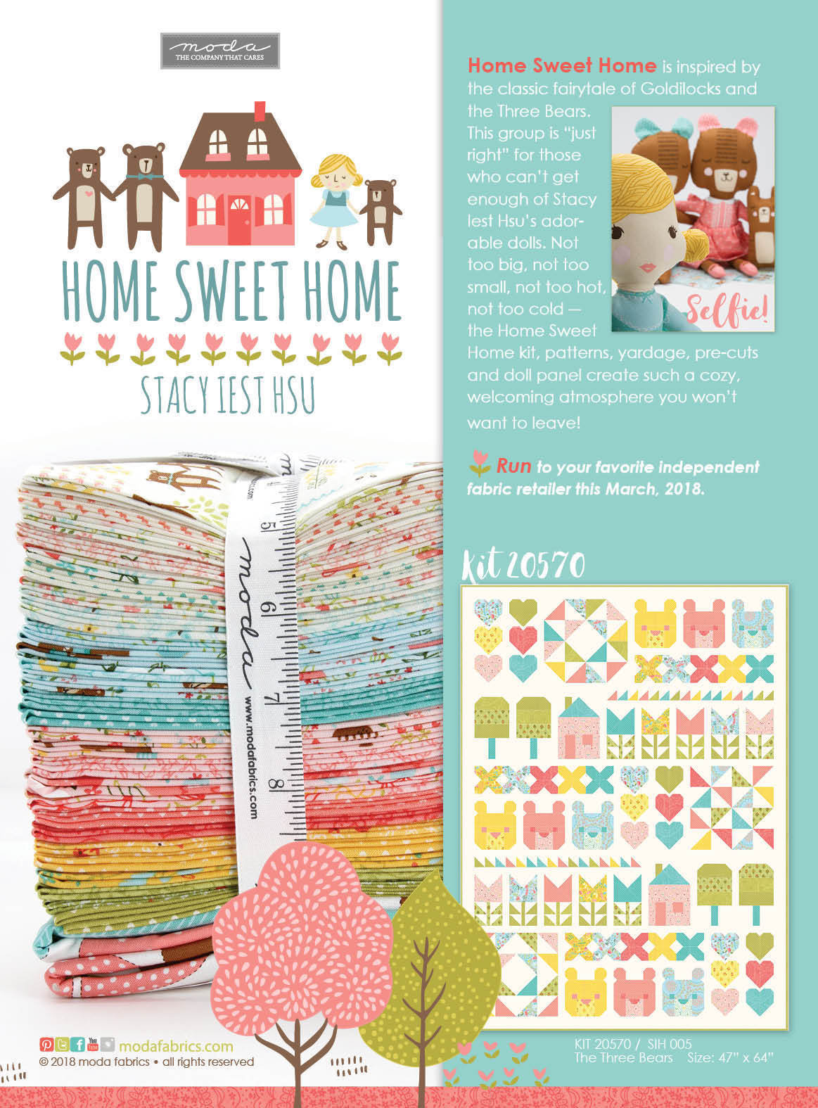 QUILT PATTERN THE THREE BEARS Moda Stacy Iest Hsu HOME SWEET HOME