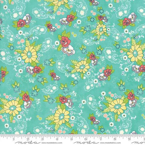 Tuppence 45510 17 Aqua Green Floral Moda Shannon Orr