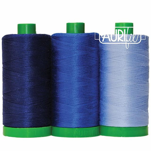 Aurifil Thread COLOR BUILDER Shark Blue 3 spools 50wt