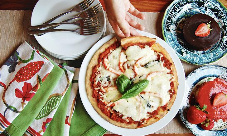 Gluten-free pizza and vegan dessert cakes.jpg