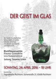 """Plakat """"Der Geist im Glas"""" von Flauto Cantabile"""