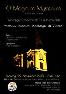 Plakat O Magnum Mysterium mit der Truderinger Chorwerkstatt und Flauto Cantabile
