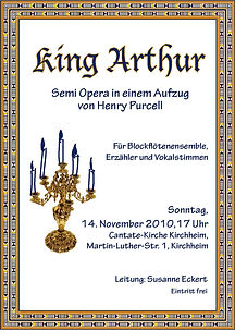 "Plakat ""King Arthur"" von Henry Purcell"