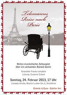 """Plakat """"Telemanns Reise nach Paris"""" von Flauto Cantabile"""