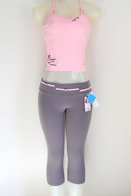 Classic Chanya ProFitness Heather Grey and pink top Set