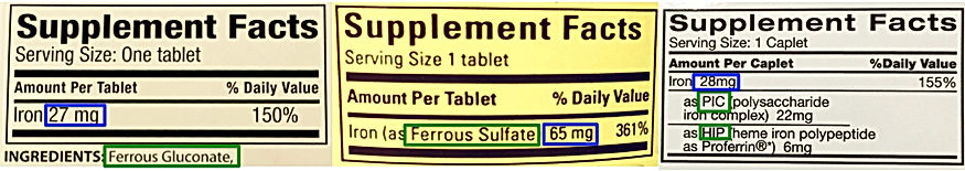how to read iron supplement labels