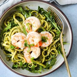Basil-Walnut-Pesto-Linguine-With-Shrimp-