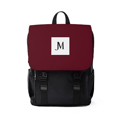 JM OXFORD CANVAS BACKPACK // Burgundy & Black with JM Logo