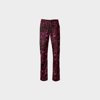 FLOWER PETAL LOUNGE PANTS // Burgundy Floral Print