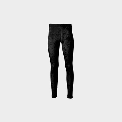 CRUSHED VELOUR HIGH-WAIST LEGGINGS // Black