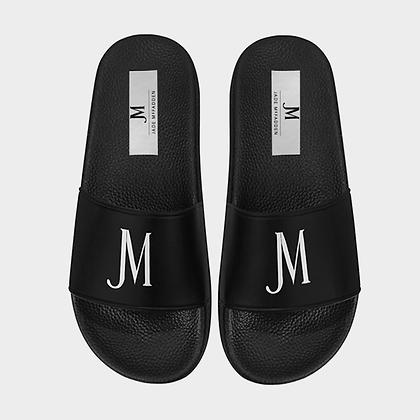 WOMEN'S JM LOGO SLIDE SANDALS // Black & White