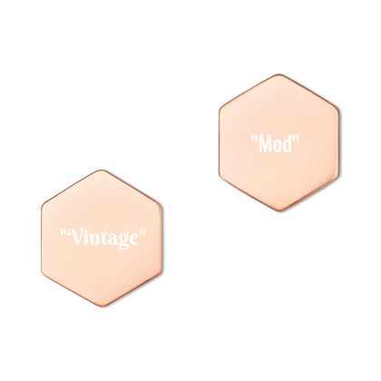 """Vintage"" & ""Mod"" HEXAGON STUD EARRINGS // 18K Rose Gold Plated & White Print"