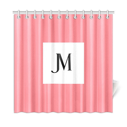 JM LOGO SHOWER CURTAIN // Blush Pink, White, & Black