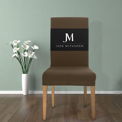 JM COMPANY LOGO REMOVABLE DINING CHAIR COVER // Carob Brown, Black, & White