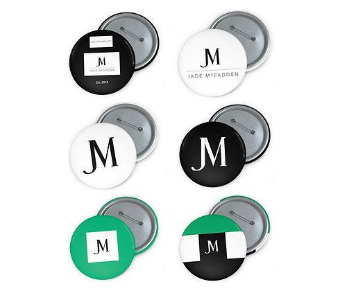 JM COMPANY LOGO PIN BUTTONS (Set of 6) // Black, White, & Jade Green