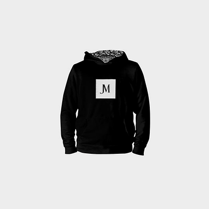 EXCLUSIVE LADIES JM LOGO PULL-OVER HOODIE // Black & White with Damask Print