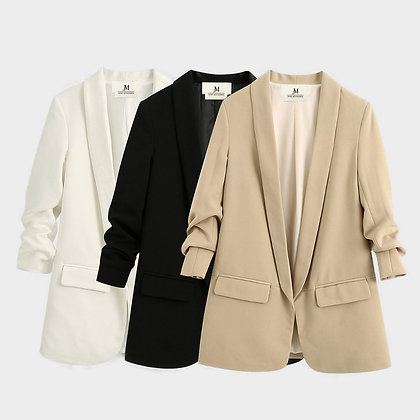 WOMEN'S RUCHED SLEEVE OFFICE BLAZER // Available in Multiple Colors