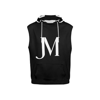KID'S SLEEVELESS JM PULL-OVER HOODIE // Black & White