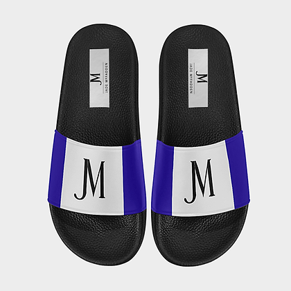MEN'S JM LOGO SLIDE SANDALS (LARGE SIZES) // White, Black, & Neon Blue