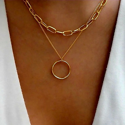 ROUND PENDANT DOUBLE-LAYERED CLAVICLE CHAIN NECKLACE // Gold