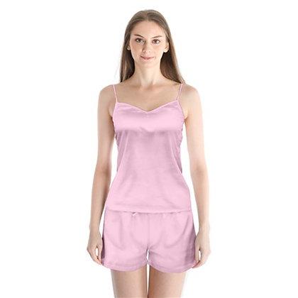 WOMEN'S SATIN CAMI PAJAMA SET // Soft Pink