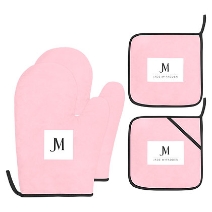 JM COMPANY LOGO OVEN MITT & POT HOLDER 4-PIECE SET // Pink, White, & Black