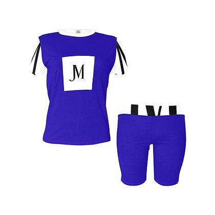 WOMEN'S JM LOGO TWO-PIECE ATHLEISURE SHORTS SET // Neon Blue, White, & Black