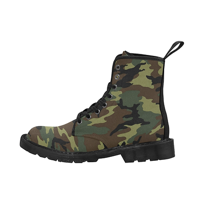 MEN'S JM CAMOUFLAGE PRINT LACE-UP CANVAS BOOTS // Multicolored-Camouflage