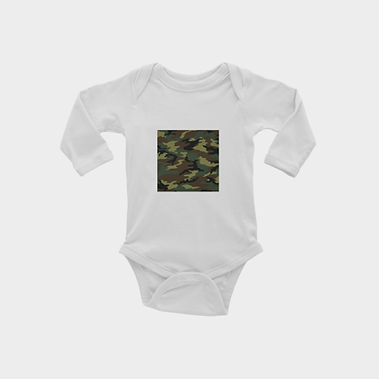 LONG SLEEVE CAMOUFLAGE SQUARE PRINT INFANT ONESIE // Olive Green, Brown, & Black