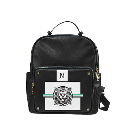 ROYAL COAT OF ARMS TAIGA LEATHER LEISURE BACKPACK // Black, White, & Jade Green