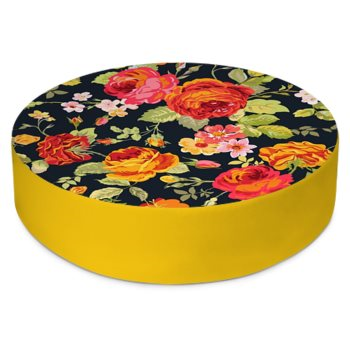 VINTAGE FLORAL PRINT ROUND FLOOR CUSHION // Multicolored