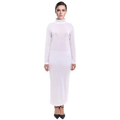 WOMEN'S LONG SLEEVE TURTLENECK MAXI DRESS // White