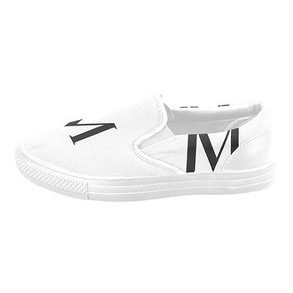 WOMEN'S JM LOGO CANVAS SLIP-ONS #1 // White & Black
