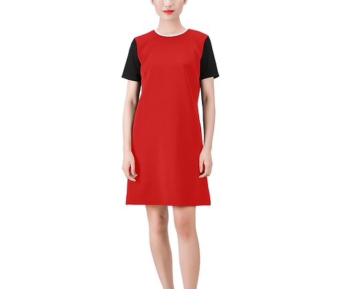 SHORT SLEEVE ROUND NECK A-LINE COLOR-BLOCK DRESS #1 // Multicolored