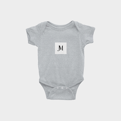 SHORT SLEEVE JM LOGO INFANT ONESIE // Grey with JM Logo