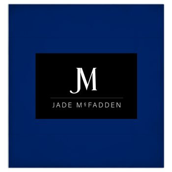 JM COMPANY LOGO 3-PIECE DUVET BEDDING SET #4 // Royal Blue, Black, & White