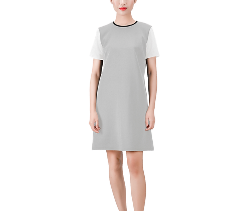 SHORT SLEEVE ROUND NECK A-LINE COLOR-BLOCK DRESS #5 // Multicolored