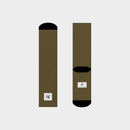 JM (JADE McFADDEN) COMPANY LOGO CREW SOCKS // Olive Green & Black