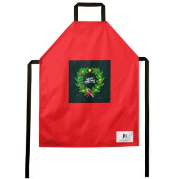 MERRY CHRISTMAS WREATH APRON // Red & Multicolored, with JM