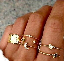 CELESTIAL LUNA RHINESTONE STACKING RING SET (6 Pieces) // Gold