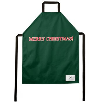 MERRY CHRISTMAS APRON // Forest Green, Red, & White, with JM Logo