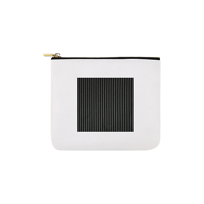 PINSTRIPED SQUARE PRINT CARRY-ALL CANVAS POUCH (SMALL) // White & Black