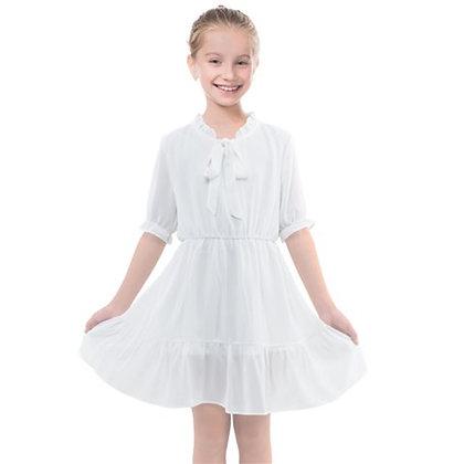 GIRLS FRILLS CHIFFON DRESS // White