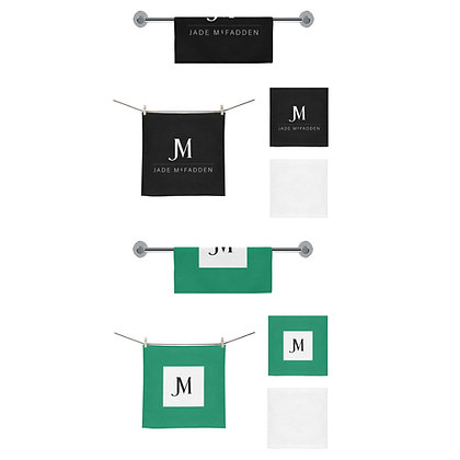 MEN'S JM COMPANY LOGO FACE TOWELS (Set of 2) // Black, Jade Green, & White