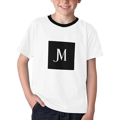 BOYS JM LOGO PRINT CASUAL T-SHIRT // White & Black