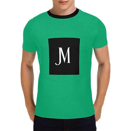 MEN'S JM LOGO PRINT  CASUAL T-SHIRT // Jade Green, Black, & White